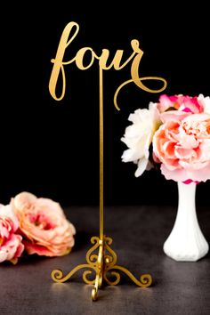 Introducing my gold wedding table numbers--now freestanding with a base! by Better Off Wed on Etsy www.betteroffwed.... #weddingtablenumbers #tablenumbers #goldtablenumbers #goldwedding