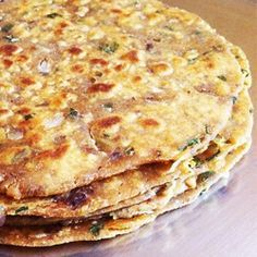 Spicy Rajma Parathas (rajma masala, whole wheat flour (atta), onion, carom seeds, coriander leaves, butter)