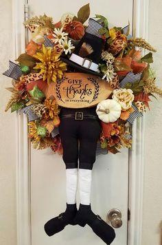 Pilgrim Wreath, Thanksgiving Wreath, Fall Wreath, Pilgrim Decor, Pumpkin Wreath…