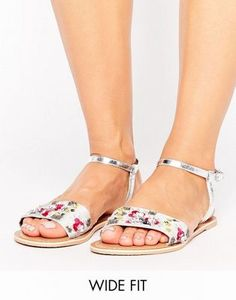 f7ac6ee636d ASOS FIZZY Wide Fit Leather Embellished Flat Sandals Sandal Price