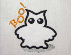 INSTANT DOWNLOAD Boo Owl Ghost Embroidery Applique Embroidery Design HA001