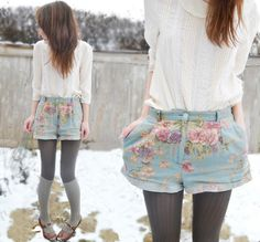 How id long for a field of flowers (by Greer H.) http://lookbook.nu/look/4728561-How-i-d-long-for-a-field-of-flowers-Top-Shorts-Mary-Janes-Knee-High-Socks