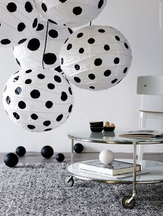 DIY Wedding decorations Black and white Polka Dot Paper lanterns