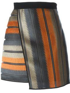 MSGM striped wrap skirt