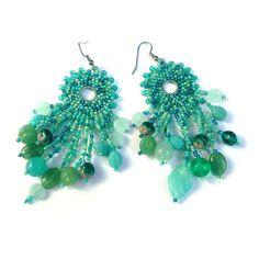 Turquoise Bohemian Style Seed Bead Earrings  boho by Anabel27shop