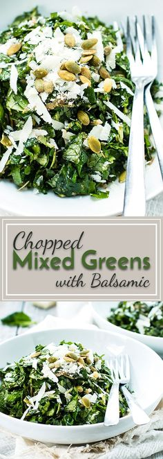 Arugula, spinach, and kale make up this chopped mixed greens salad with balsamic vinaigrette and Parmesan. A quick, healthy and delicious salad recipe! Kale Salad Recipes, Vegetarian Recipes, Healthy Recipes, Kale Salads, Avocado Recipes, Arugula Salad, Spinach Salad, Kale And Spinach, Fresh Broccoli