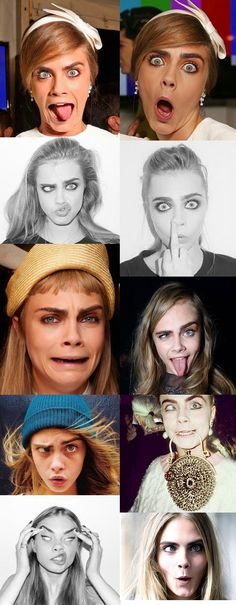 Funny Face Model Cara Delevingne 64 New Ideas Face Expressions, Amanda Seyfried, Funny Faces, Mannequins, Belle Photo, Girl Crushes, Kylie Jenner, Selena Gomez, Role Models