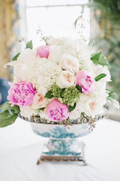 Peony, garden rose, and hydrangea centerpiece