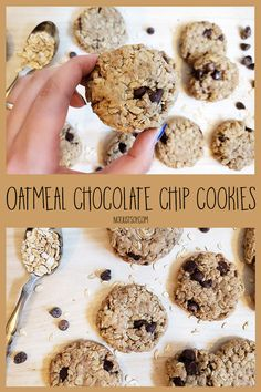 Easy Oatmeal Chocolate Chip Cookies - Not Just Soy Oatmeal Chocolate Chip Cookies, My Recipes, Snacks, Eat, Breakfast, Desserts, Food, Morning Coffee, Tailgate Desserts