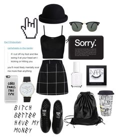 """black and white"" by tessaaxo ❤ liked on Polyvore featuring WearAll, adidas, Casetify, Pieces, Ray-Ban, Essie, NARS Cosmetics, ALDO, Xenab Lone and vintage"