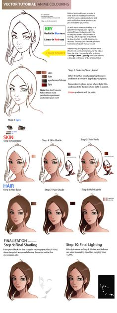 Vector Tutorial:Anime Coloring by *taho on deviantART, How to Draw Anime Faces, face Colors, painting anime faces tutorial, cute, anime, girl, kawaii, Japanese drawing tut