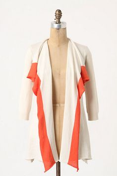 Colorblocked Edge Cardigan   A tomato-red orange border unfurls along the placket of Angel of the North's cashmere-kissed, raw-hemmed silhouette ~ Anthropologie