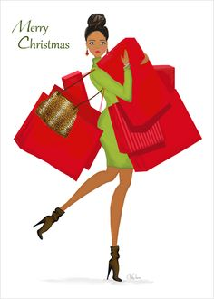 Shopping Season Holiday Card - this fashion art illustration of an African American or multicultural fashionista getting her holiday shopping on in festive red and green colors includes an inspirational message Black Christmas, Christmas Art, Christmas And New Year, Vintage Christmas, Christmas Girls, Christmas Scenes, Christmas Movies, Christmas Stockings, Christmas Decorations
