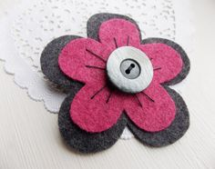 Shocking Pink and Grey Felt Flower Brooch Hand by thefeltboutique, £8.00