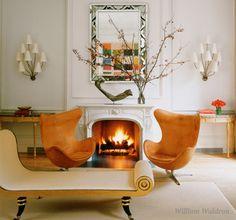 Eames chairs; chaise; sconces; demi lunes & sculpture..eclectic excellence