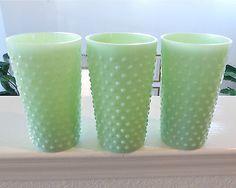 3 Jadite Green Milk Glass Hobnail Water Tumblers Contemporary Jade ITE | eBay
