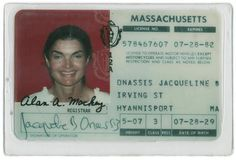 Jacqueline Onassis' driving licence!