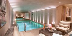 A huge #pool inside the #Chalet Névé in #Courchevel to relax after a hard day of #skiing. Chalet Névé: http://clni.st/1nFozvV  www.lecollectionist.com