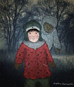 POSMOTRI YETI! by Rizky Warnerin  #RizkyWarnerin #illustration #childrenbook  #children #fineart #drawing #fairytale #cute  #winter #pastel #crayon #yeti #wood #fear #coat