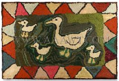 Antique Hooked Rug, Family of Ducks,