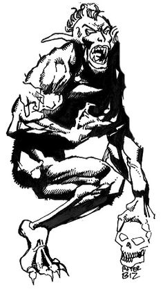 Orcus- Roman myth: the god of death and suffering in the underworld. he punishes mortals who have broken oaths. he was depicted as a hairy, bearded giant monster.