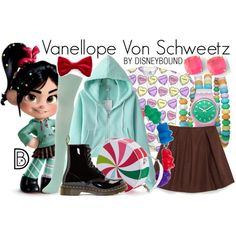 Wreck-It Ralph Vanellope Von Schweetz Outfit Disney Character Outfits, Cute Disney Outfits, Disney Themed Outfits, Disney Bound Outfits, Cute Outfits, Nerd Fashion, Fandom Fashion, Disney Inspired Fashion, Disney Fashion