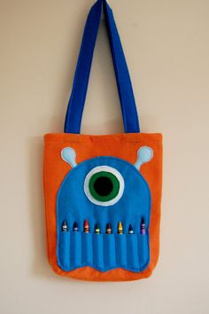 Orange Felt Monster Coloring Tote by BetterThanPerfect on Etsy
