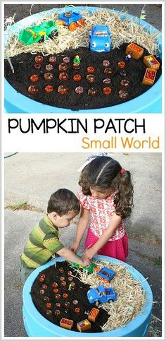 Pumpkin Patch Small World for Kids: Fun Halloween and fall sensory play for toddlers and preschoolers. A fun way to encourage pretend play! Halloween Activities For Toddlers, Autumn Activities For Kids, Fall Preschool, Toddler Preschool, Toddler Crafts, Sensory Bins, Sensory Activities, Sensory Play, Preschool Activities