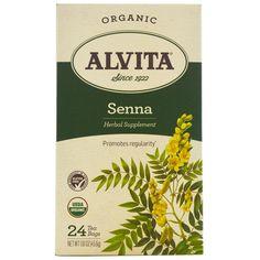 Alvita Teas, Organic, Senna Tea, Caffeine Free, 24 Tea Bags, 1.61 oz (45.6 g)