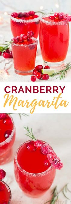 Cranberry margarita is gorgeous colored refreshing cocktail with a perfect balance of sweet and tart. This holiday drink is made with fresh. Refreshing Cocktails, Fun Cocktails, Party Drinks, Cocktail Recipes, Recipes Dinner, Pasta Recipes, Crockpot Recipes, Soup Recipes, Chicken Recipes