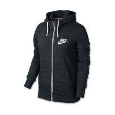 Women's Nike Gym Vintage Full-Zip Hoodie ($55) ❤ liked on Polyvore featuring activewear, activewear tops, jackets, black, hoodies, nike, sweaters, nike sportswear, vintage sportswear and nike activewear