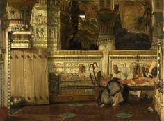 A Viuva Egípcia (1872) - Lawrence Alma Tadema - Rijksmuseum, Amsterdam A Viúva egípcia (1872) retrata a mulher enlutada chorando ao lado de um caixão decorado enquanto sacerdotes e um harpista exercem as suas funções de forma mais prosaica ao fundo. Fernando Mazzoca explica, Nesta pintura de tamanho moderado, pintada em 1872, repre-senta com extraordinário cuidado e habilidade ilusória o interior de um templo, onde cada detalhe é fielmente reconstruído. A arquitetura decorações, murais,