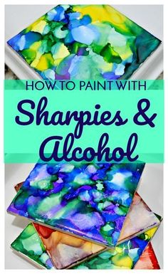 """You can make beautiful """"painted"""" tiles with Sharpies and rubbing alcohol. This full tutorial will show you how to paint with Sharpies and alcohol! Diy Craft Projects, Easy Diy Crafts, Cute Crafts, Creative Crafts, Simple Crafts, Sharpies, Mason Jar Crafts, Mason Jar Diy, Fun Craft"""