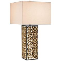 Add a touch of elegant style to your room with this traditional rectangular table lamp with a Chinois antique gold leaf finish, and fleck linen lamp shade