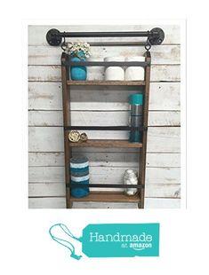 Bathroom ladder shelf, rustic bathroom shelf, industrial shelf, farmhouse shelf, cottage chic, home décor, shelf w/pipe towel bar from Country Corner Goods https://smile.amazon.com/dp/B018L54OPM/ref=hnd_sw_r_pi_dp_x9ZJxbRKYPCQV #handmadeatamazon