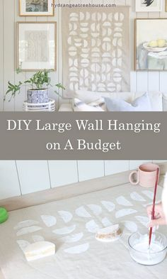 DIY large wall hanging on a budget, diy large scale wall art   affordable diy home decor ideas large wall art, mid century, boho tapestry decor