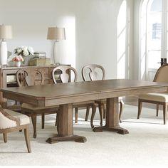 Somerset Lane Wood Rectangular Double Pedestal Table in Amaretto