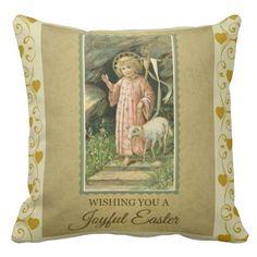 Designer Golden Easter Pillow with Christ Child