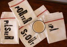 Beer Lovers Towel Set - Set of 4 - Tea Towels. $23.50, via Etsy.