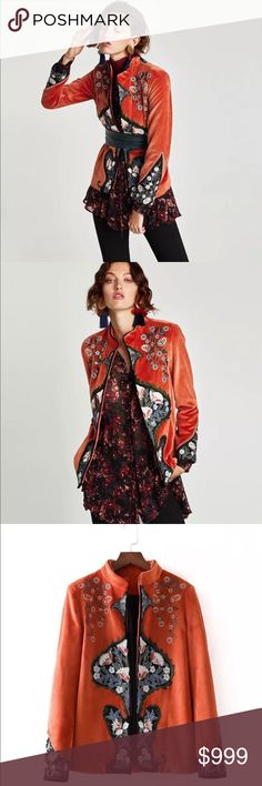 Preview! Velvet Floral Embroidered Mandarin Jacket Preview! Mandarin Velvet Floral Embroidered Jacket • A stunner! Coming soon! Like this listing to be notified upon arrival. Preorder available- just ask. Limited quantity. Zara Jackets & Coats