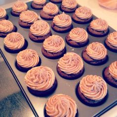 Caramel Cafe Mocha Cupcakes - Chocolate cake with coffee buttercream and caramel drizzle.