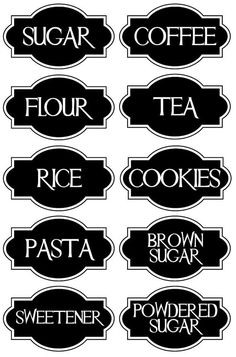 A very chic set of 10 Vinyl Kitchen Canister Labels.: dapur, 10 Best Inspirations of Kitchen Island with Seating That Will Amaze You Kitchen Canister Labels, Pantry Labels, Jar Labels, Spice Labels, Vinyl Crafts, Vinyl Projects, Circuit Projects, Printable Labels, Printables