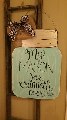 Handpainted mason jar door hanger psalms 23:5