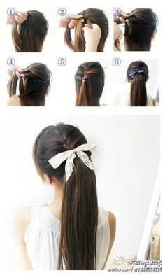 French braid part of the top section of your hair and tie it off. next, grab all your hair and re tie it, hiding the first ponytail holder. finally, finish if off with a ribbon. you're all set!