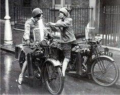 Women on motorcycles in England, 1930s.