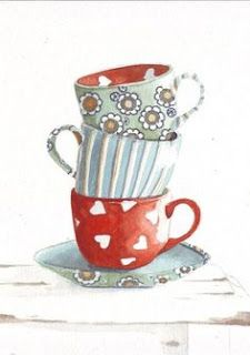 Original watercolor painting tea cups hearts red blue by HelgaMcL… Kitchen Prints, Kitchen Art, Tea Cup Art, Tea Cups, Illustration Art, Illustrations, Coffee Art, Whimsical Art, Art Plastique