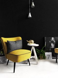 Restored vintage cocktail chair in Svensson Yellow wool. Styled with the Menu bollard light, ByAlex side table and ViaMartine model poster. See more at www.florrieandbill.com