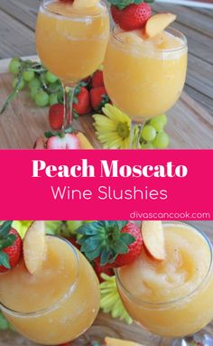 How to make Wine Slushies ~ Peach Moscato Frosty wine slushies made with real peaches and crisp moscato wine. Vino Moscato, Peach Moscato, Peach Wine, Moscato Punch, White Peach Sangria, Peach Margarita, Alcohol Drink Recipes, Punch Recipes, Slushy Alcohol Drinks