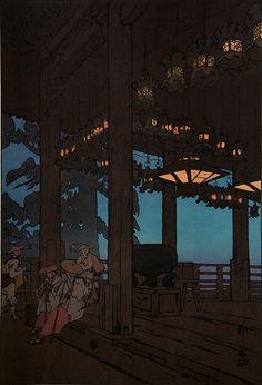 Ukiyo-e Hiroshi Yoshida Nigatsudo Temple by griffinlb, via Flickr