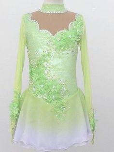 CUSTOM MADE TO FIT BEAUTIFUL FIGURE ICE SKATING DRESS Beautiful green skating dress